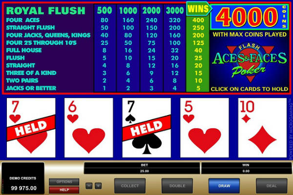 aces and faces video poker kostenlos spielen