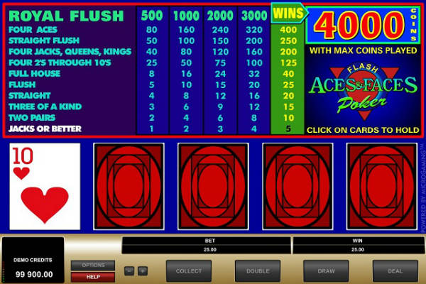 aces and faces video poker im Playfortuna casino