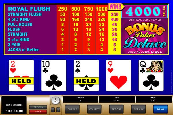 deuces wild video poker im casino Playfortuna