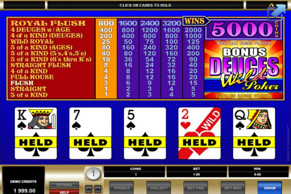 deuces wild bonus poker
