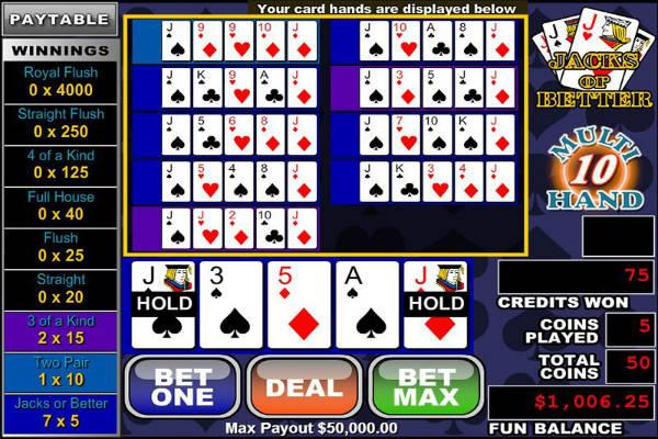 multihand poker jacks or better kostenlos spielen