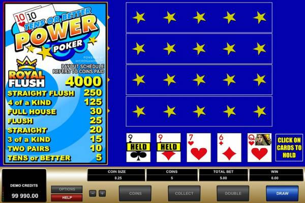 spiele tens or better power poker