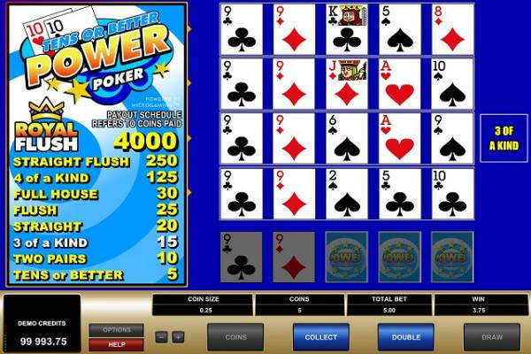 tens or better power poker im casino Playfortuna