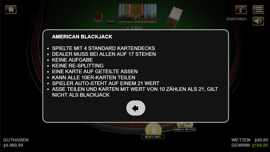 american blackjack spielautomat