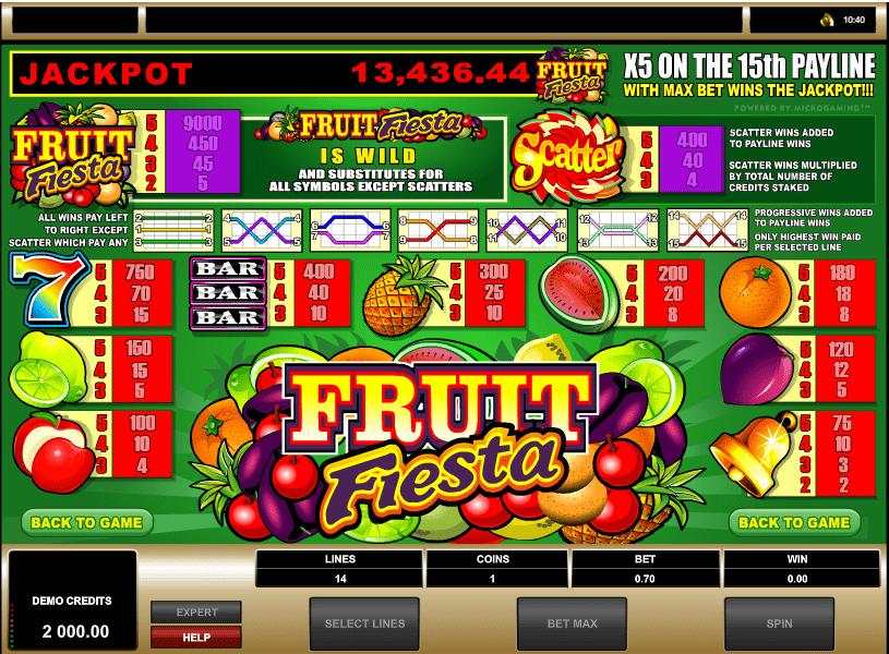 fruit fiesta 5 reel