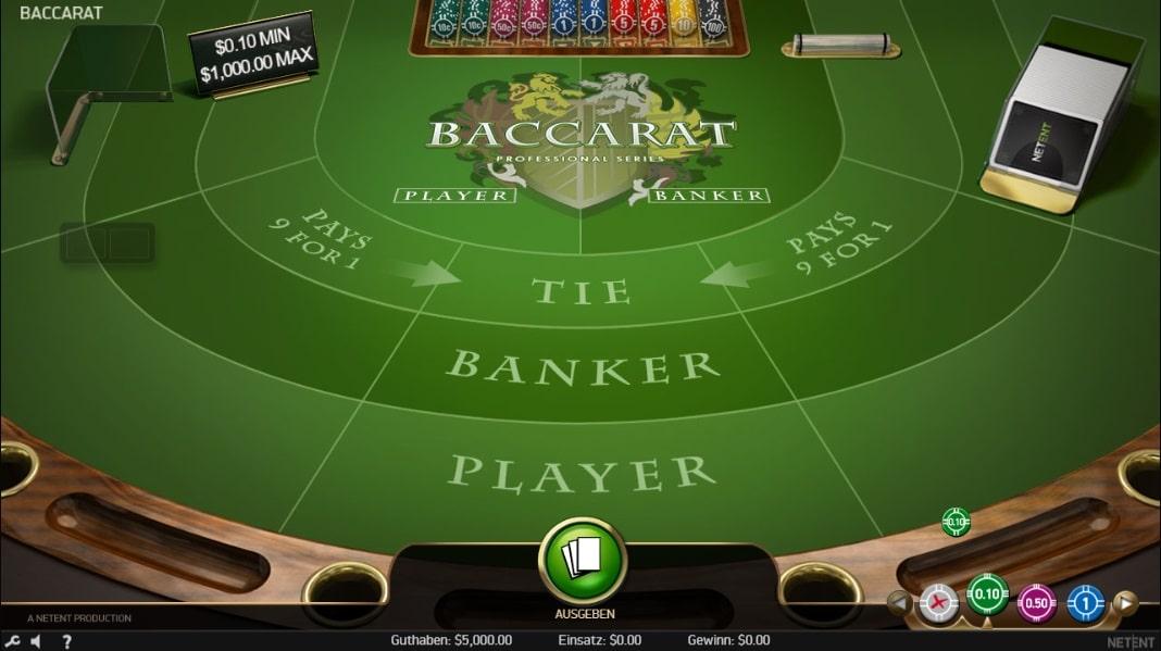 baccarat professional series standard limit spielautomat