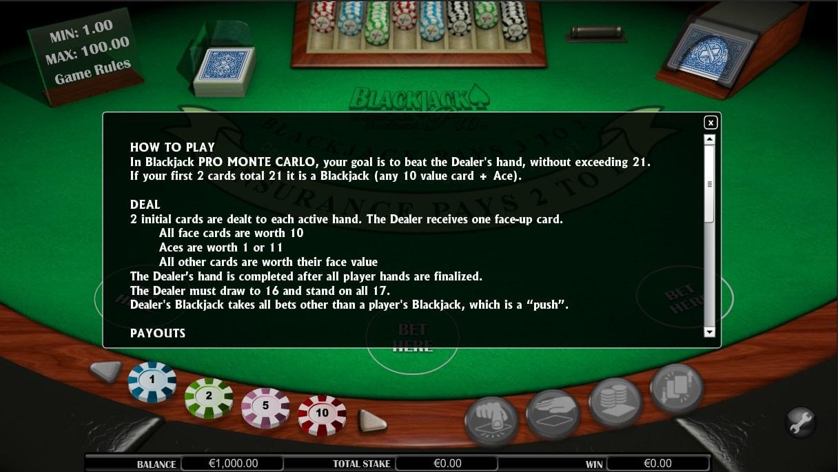 blackjack pro monte carlo