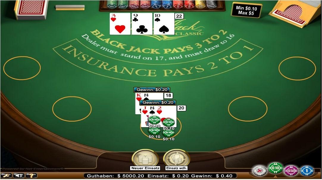 blackjack classic standard limit
