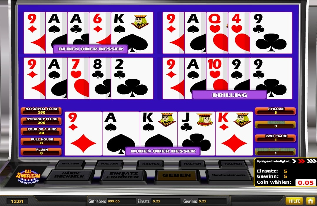 all american video poker kostenlos spielen