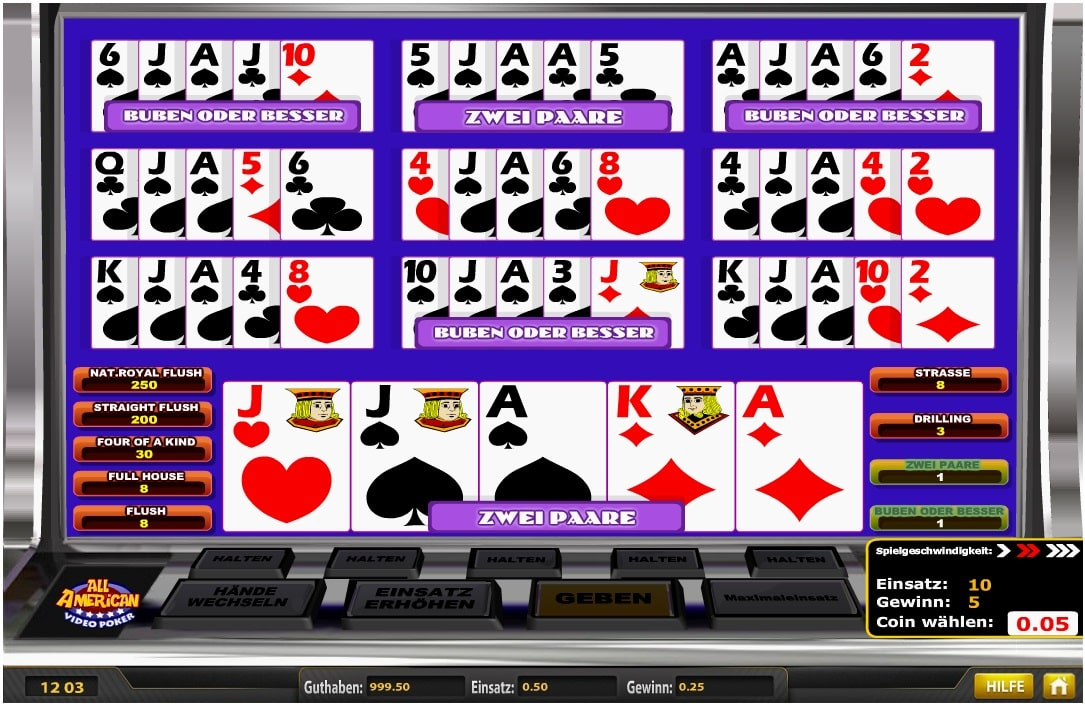 all american video poker im Playfortuna casino