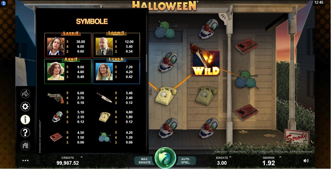 Halloween Paytable